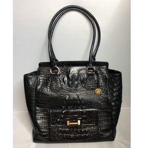 Brahmin Black Large Croc Embossed Leather Bag
